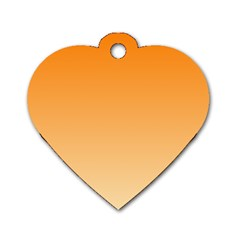 Orange To Peach Gradient Dog Tag Heart (Two Sided)