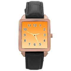 Orange To Peach Gradient Rose Gold Leather Watch
