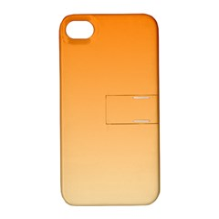 Orange To Peach Gradient Apple Iphone 4/4s Hardshell Case With Stand