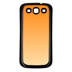 Orange To Peach Gradient Samsung Galaxy S3 Back Case (Black)