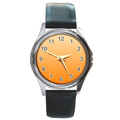 Peach To Orange Gradient Round Metal Watch (Silver Rim)
