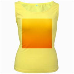 Peach To Orange Gradient Womens  Tank Top (yellow)