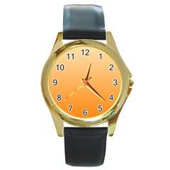 Peach To Orange Gradient Round Metal Watch (Gold Rim)
