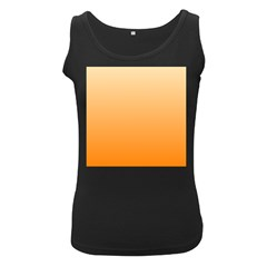 Peach To Orange Gradient Womens  Tank Top (Black)