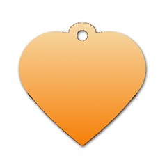 Peach To Orange Gradient Dog Tag Heart (One Sided)