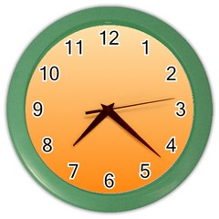 Peach To Orange Gradient Wall Clock (Color)