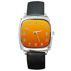 Amber To Mahogany Gradient Square Leather Watch