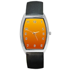 Amber To Mahogany Gradient Tonneau Leather Watch