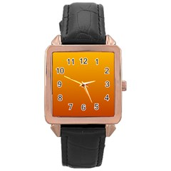 Amber To Mahogany Gradient Rose Gold Leather Watch