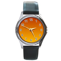Mahogany To Amber Gradient Round Metal Watch (Silver Rim)