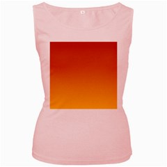 Mahogany To Amber Gradient Womens  Tank Top (Pink)