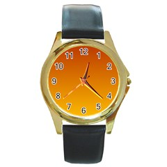 Mahogany To Amber Gradient Round Metal Watch (gold Rim)