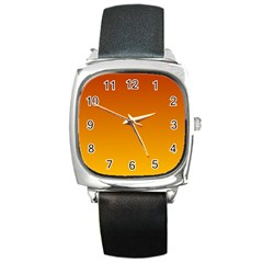 Mahogany To Amber Gradient Square Leather Watch