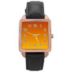 Mahogany To Amber Gradient Rose Gold Leather Watch