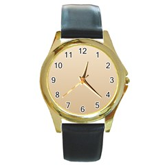 Champagne To Tan Gradient Round Metal Watch (Gold Rim)