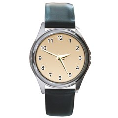 Tan To Champagne Gradient Round Metal Watch (Silver Rim)