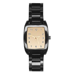 Tan To Champagne Gradient Men s Stainless Steel Barrel Analog Watch