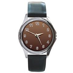 Chamoisee To Seal Brown Gradient Round Metal Watch (silver Rim)