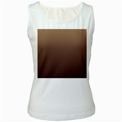 Chamoisee To Seal Brown Gradient Womens  Tank Top (White)