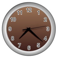 Chamoisee To Seal Brown Gradient Wall Clock (Silver)