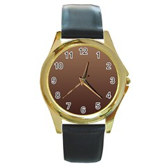 Chamoisee To Seal Brown Gradient Round Metal Watch (Gold Rim)