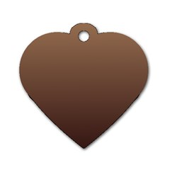 Chamoisee To Seal Brown Gradient Dog Tag Heart (Two Sided)