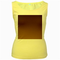 Seal Brown To Chamoisee Gradient Womens  Tank Top (yellow)