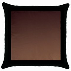 Seal Brown To Chamoisee Gradient Black Throw Pillow Case