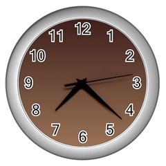 Seal Brown To Chamoisee Gradient Wall Clock (silver)