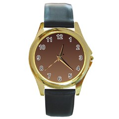 Seal Brown To Chamoisee Gradient Round Metal Watch (gold Rim)