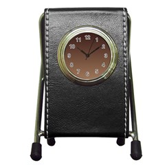 Seal Brown To Chamoisee Gradient Stationery Holder Clock