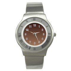 Seal Brown To Chamoisee Gradient Stainless Steel Watch (Unisex)