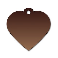 Seal Brown To Chamoisee Gradient Dog Tag Heart (One Sided)