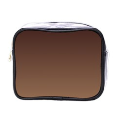 Seal Brown To Chamoisee Gradient Mini Travel Toiletry Bag (one Side)