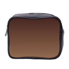 Seal Brown To Chamoisee Gradient Mini Travel Toiletry Bag (two Sides)