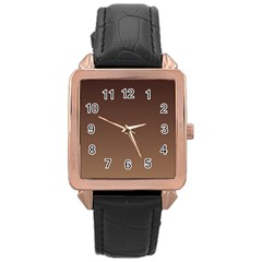 Seal Brown To Chamoisee Gradient Rose Gold Leather Watch
