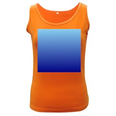Baby Blue To Navy Blue Gradient Womens  Tank Top (dark Colored)
