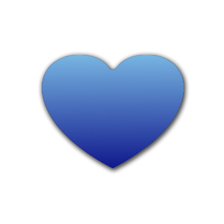 Baby Blue To Navy Blue Gradient Drink Coasters 4 Pack (Heart)