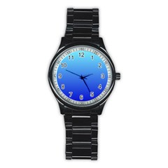 Electric Blue To Medium Blue Gradient Sport Metal Watch (Black)