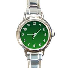 Dark Green To Green Gradient Round Italian Charm Watch