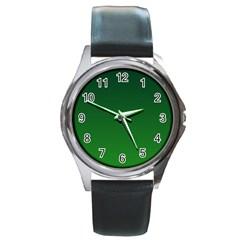 Dark Green To Green Gradient Round Metal Watch (silver Rim)