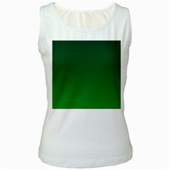 Dark Green To Green Gradient Womens  Tank Top (White)