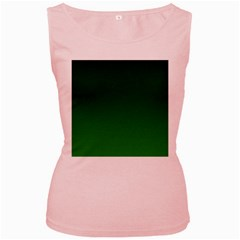 Dark Green To Green Gradient Womens  Tank Top (Pink)