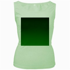 Dark Green To Green Gradient Womens  Tank Top (Green)