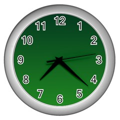 Dark Green To Green Gradient Wall Clock (Silver)