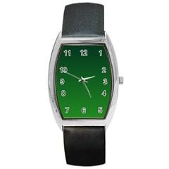 Dark Green To Green Gradient Tonneau Leather Watch