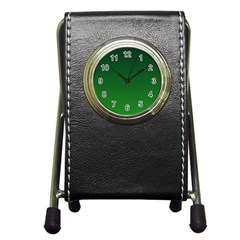 Dark Green To Green Gradient Stationery Holder Clock