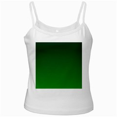 Dark Green To Green Gradient White Spaghetti Top