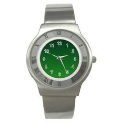 Dark Green To Green Gradient Stainless Steel Watch (unisex)
