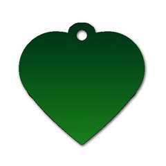 Dark Green To Green Gradient Dog Tag Heart (One Sided)